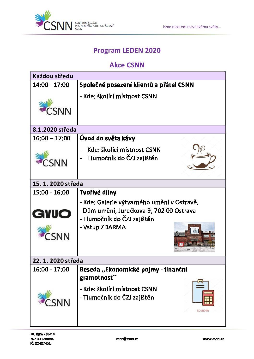 Program CSNN leden 2020