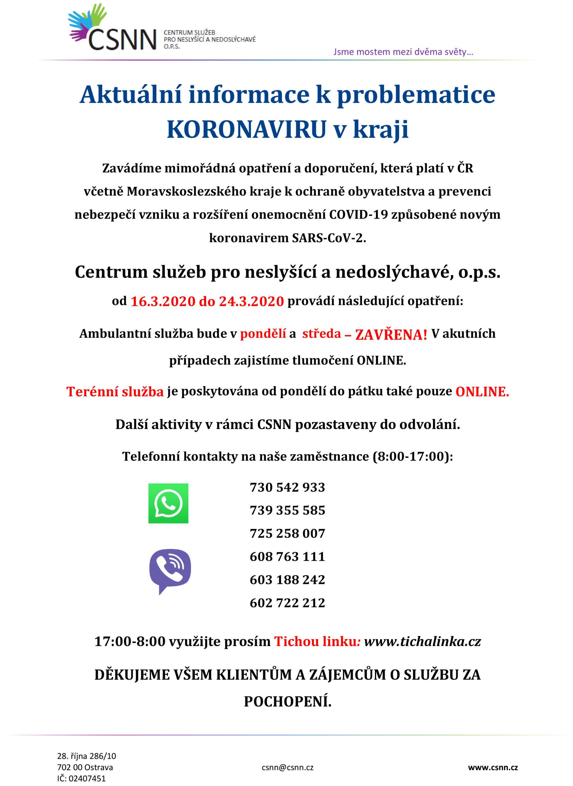 Aktuální informace k problematice KORONAVIRU