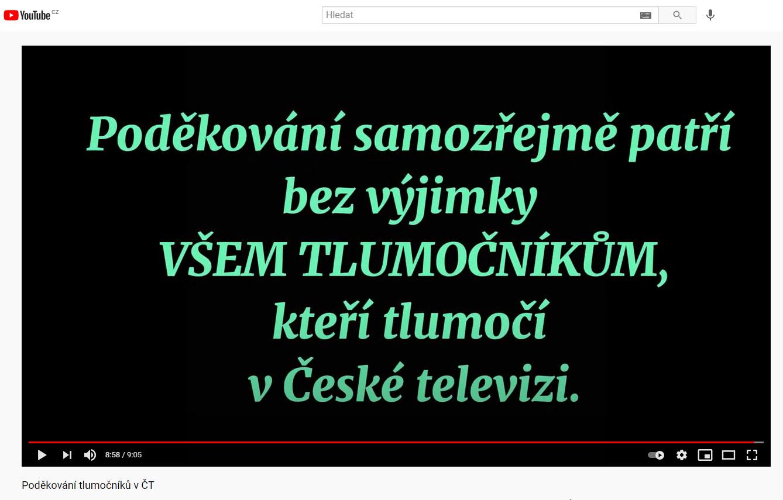 Poděkování tlumočníkům v ČT